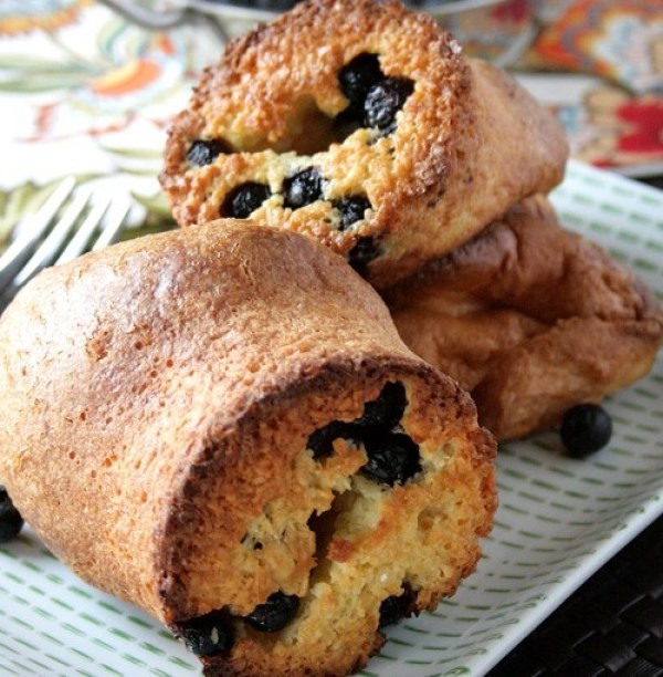 Toasted Coconut and Blueberry Popovers