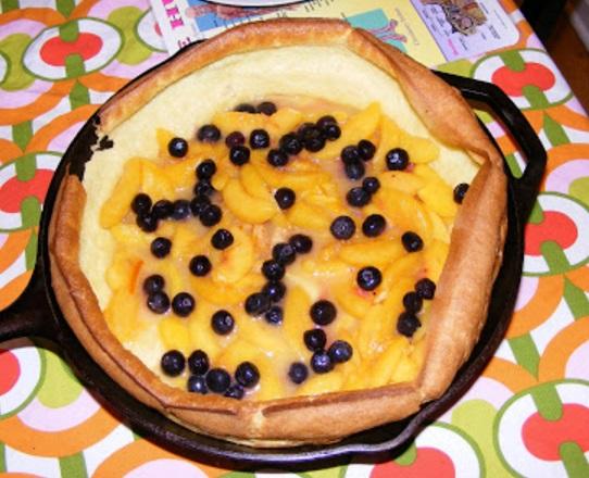 Peach & Blueberry Popover Pancake