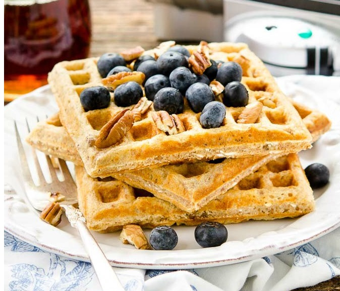 Honey Oatmeal Nut Waffles