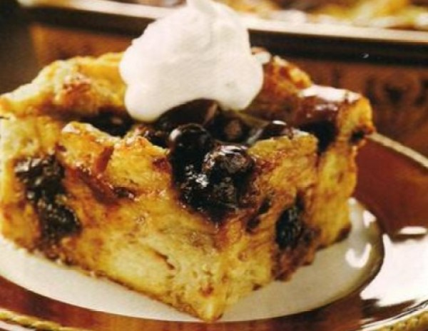 Bread Pudding with Chocolate Covered Raisins