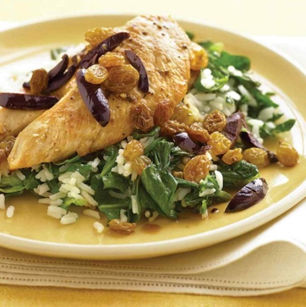 Chicken with Olives, Raisins, and Spinach Rice