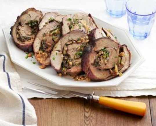 Spinach and Pine Nut Leg of Lamb