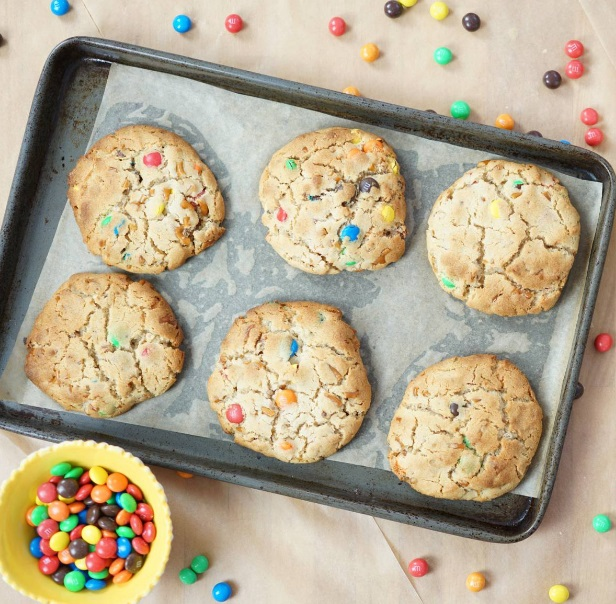Pretzels & M&M's Peanut Butter Cookies