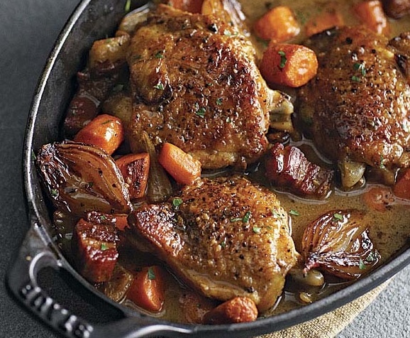 Wine-Braised Chicken with Shallots and Pancetta