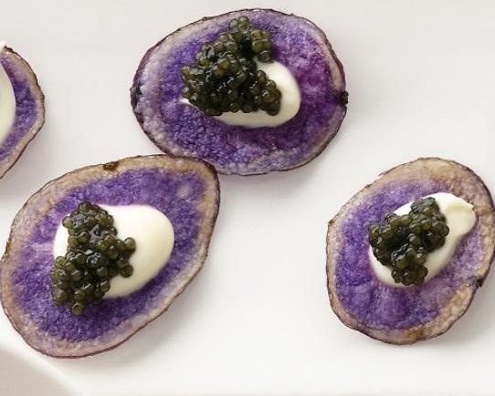 Purple Potato Chips With Creme Fraiche And Caviar