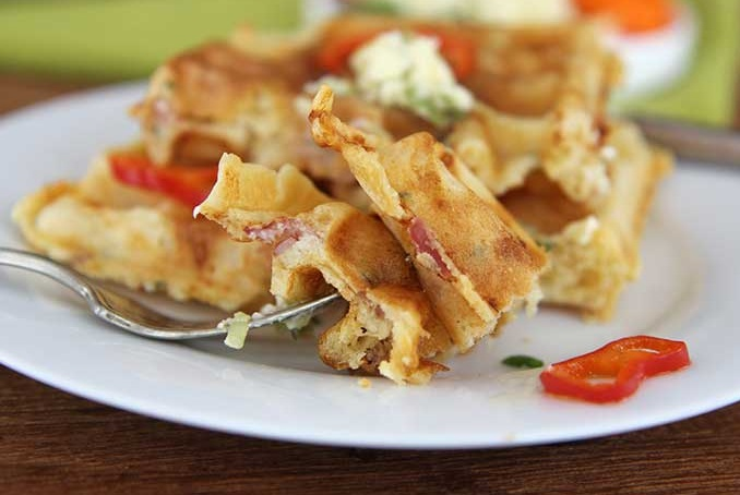 Savory Ham and Cheese Waffles