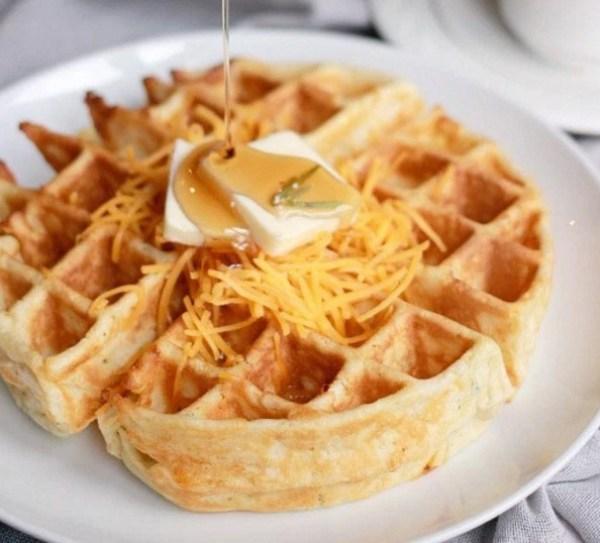 Cheddar Rosemary Savory Waffles