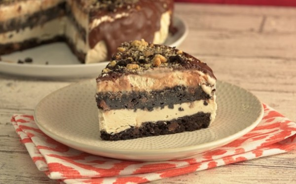 Crushed Biscotti And Coffee Ice Cream Cake