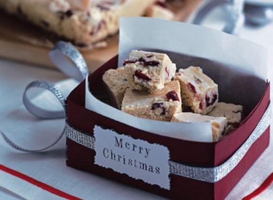 White Chocolate and Cranberry Fudge