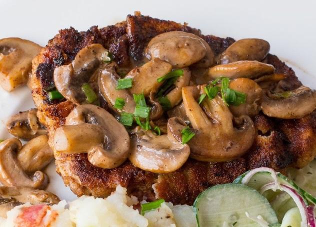 Wiener Schnitzel With Mushroom Sauce