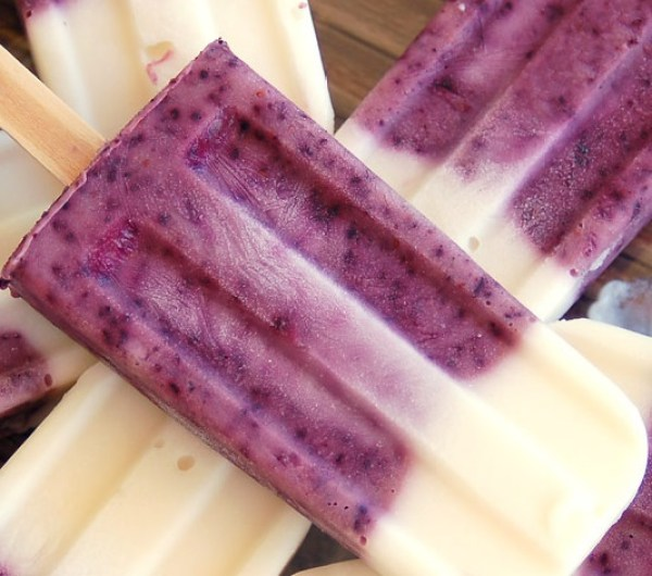 Blueberry Vanilla Yogurt Popsicles