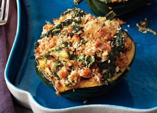 Acorn Squash With Kale and Sausage
