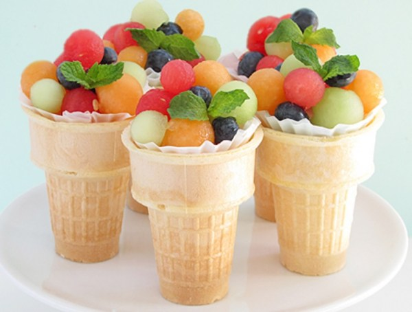 Fruit Salad Ice Cream Cone