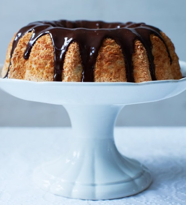 Angel Food Cake With Dark Chocolate Ganache