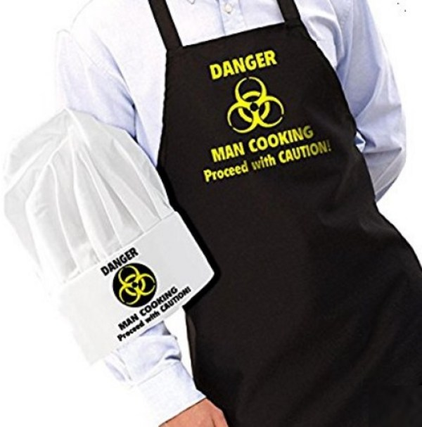 """Danger: Man Cooking"" Novelty Apron and Chef's Hat Set"
