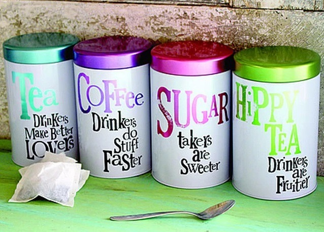 Brightly Coloured Coffee, Tea & Sugar Canisters