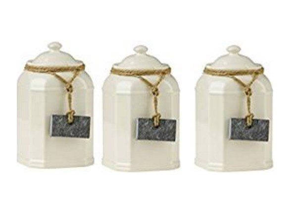 Cream Dolomite Coffee, Tea & Sugar Canisters