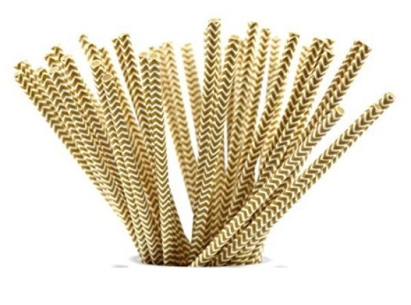 Gold and White Paper Drinking Straws