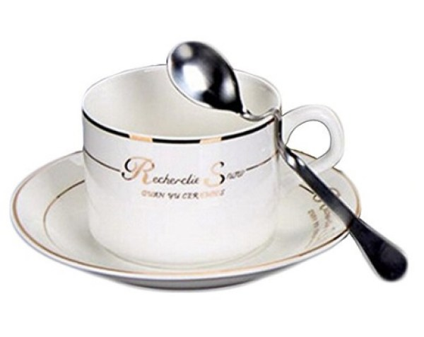 Simple Tea Cup and Saucer and Saucer Spoon