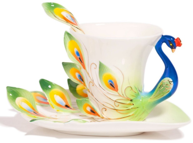 Peacock Tea Cup and Saucer