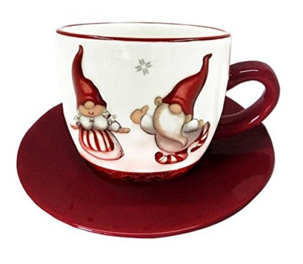 Christmas Dwarfy Style Tea Cup and Saucer