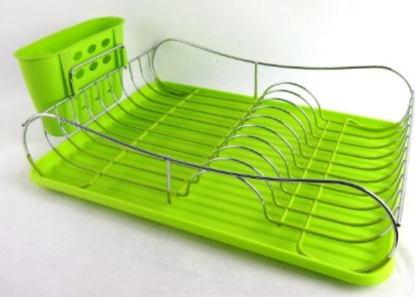 Uniware Green Dish Rack with Plastic Tray