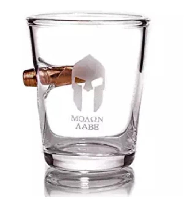 Molon Labe .308 Real Bullet hand-blown Shot Glass