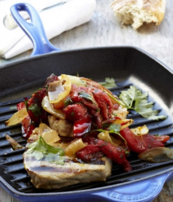 Griddled Tuna with Moroccan Peppers