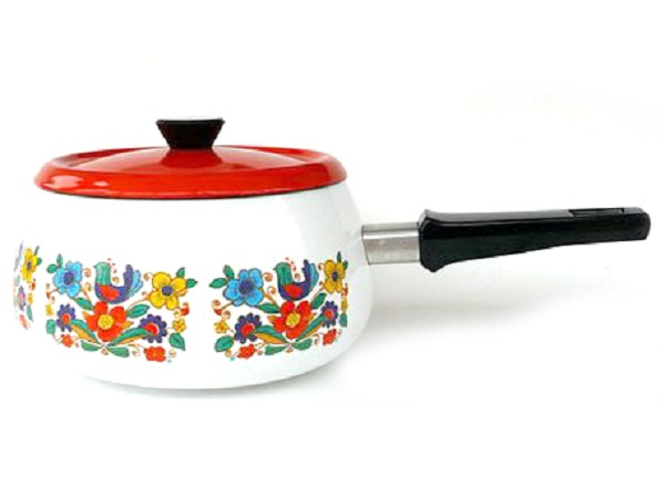 Vintage French Enamel Saucepan with Lid