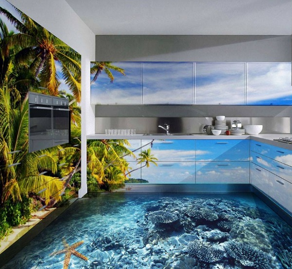 Tropical Island Kitchen Floor Design