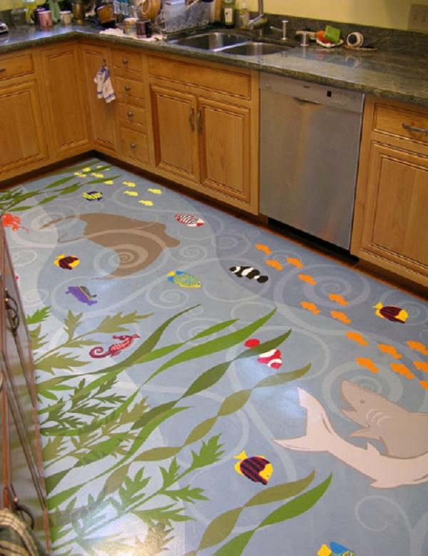 Sea-Life Kitchen Floor Design