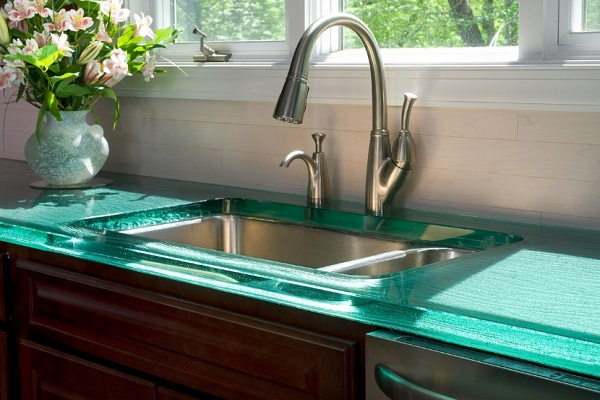 Kitchen Worktops Made With Clear Acrylic