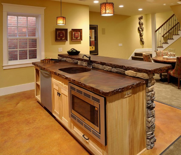 Stone and Wood Kitchen Island