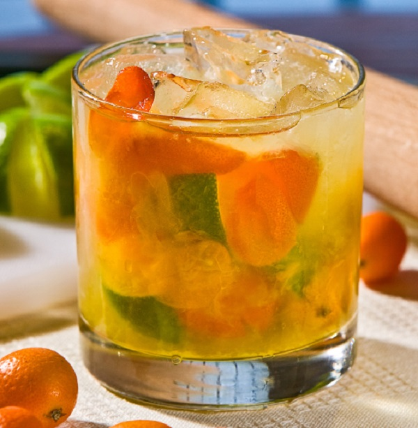 Honey Kumquat Caipirinha Cocktail