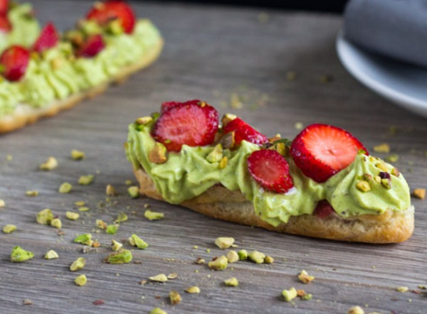 Pistachio and Strawberry Eclairs