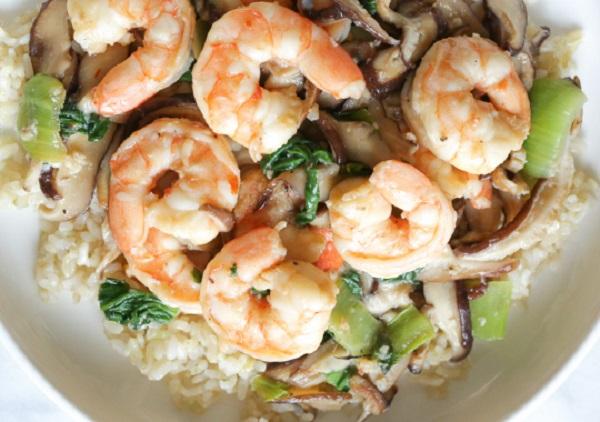Garlicky Shrimp Stir-fry with Shiitakes and Bok Choy