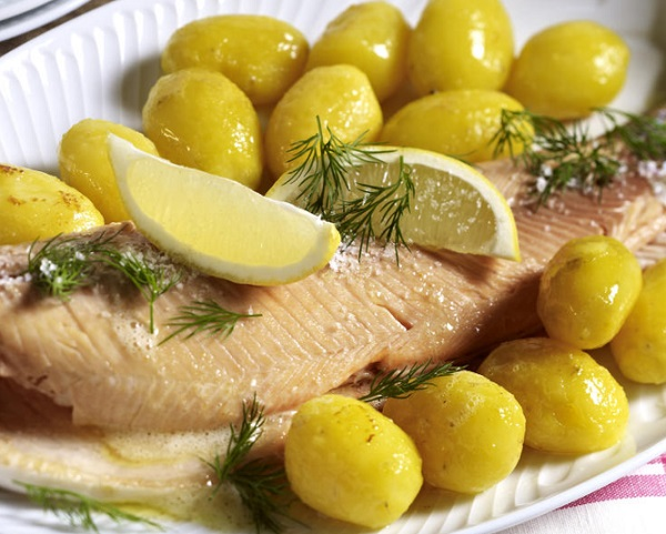 Baked Salmon Trout with New Potatoes