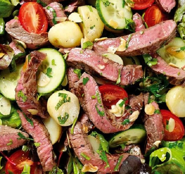 Hot Seared Beef Salad With New Potatoes and Honey Dressing