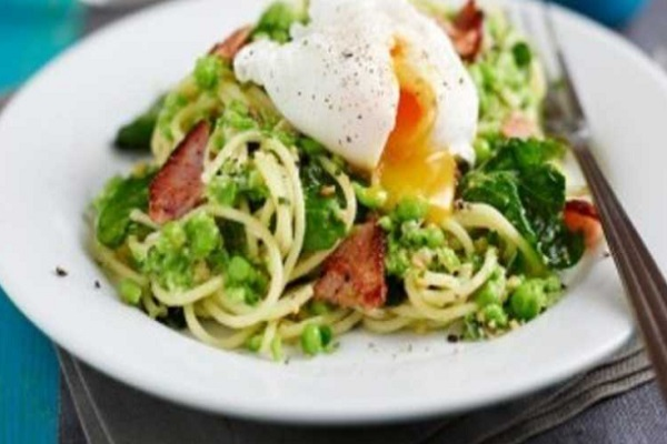 Topsy-Turvy Pea And Mint Carbonara