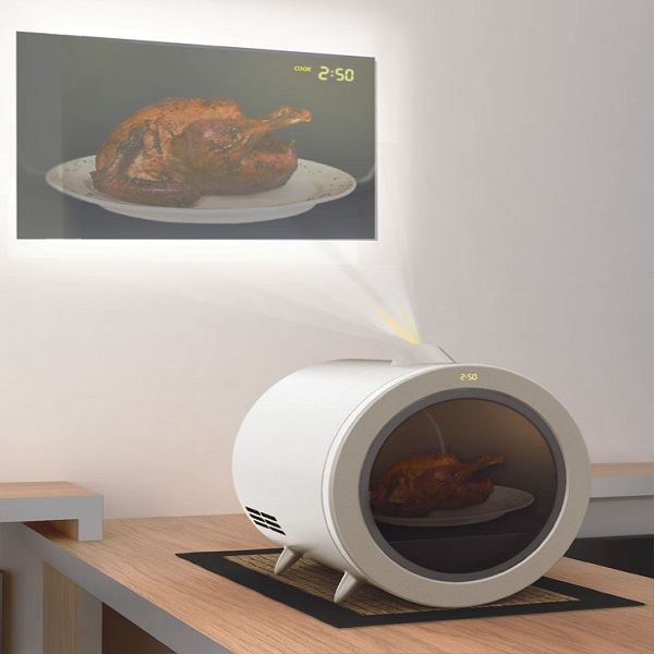 Microwave Oven with Built-in Projector