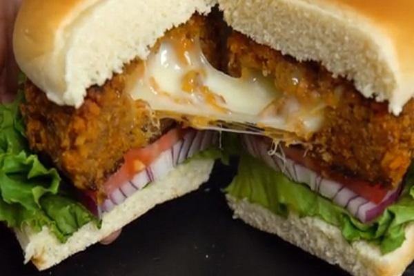 Cheese-Stuffed Doritos Burger