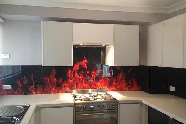 Flames Image Kitchen Splashback Design