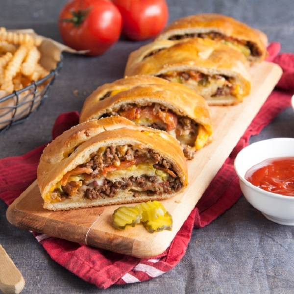 Bacon Cheeseburger Stromboli