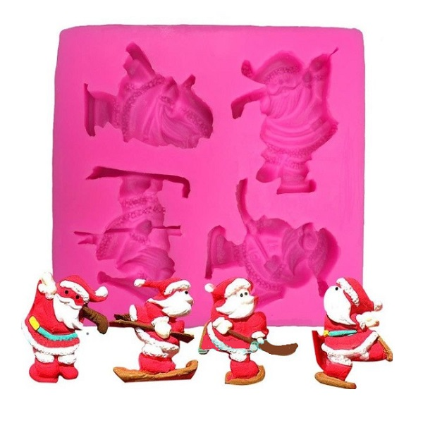 X4 Skiing Father Christmas (Santa Claus) Birthday Cake Moulds