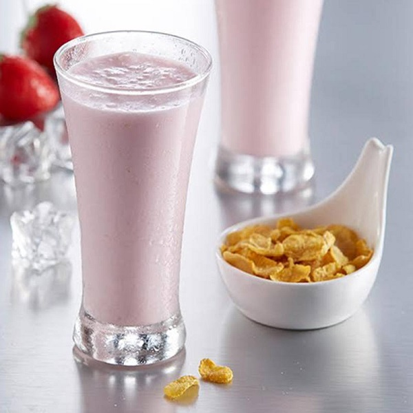 Cornflakes Strawberry Milkshake