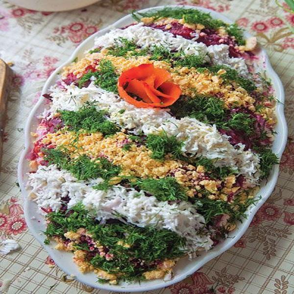 Traditional Latvian Selyodka Pod Shuboy (Layered Herring Salad)