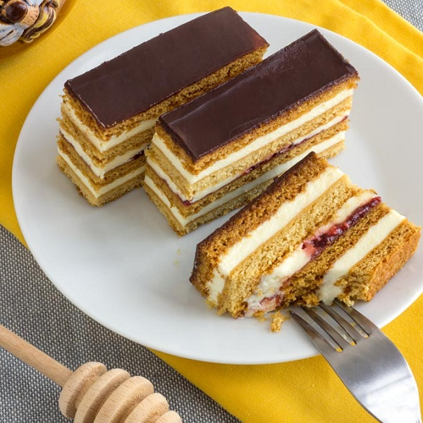 Traditional Slovak Honey Cake Slices