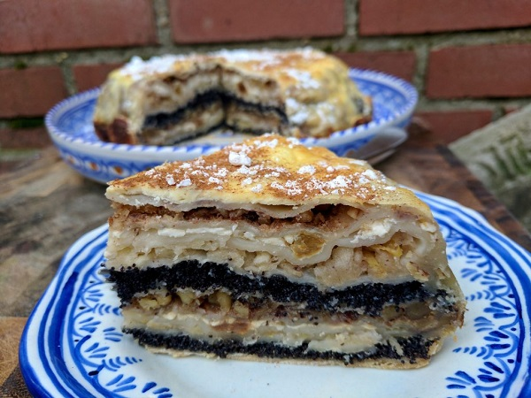 Traditional Slovenian Prekmurska Gibanica (Layered Apple Strudel Cake)