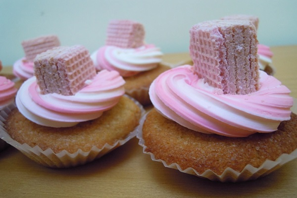 Pink Wafer Cupcakes