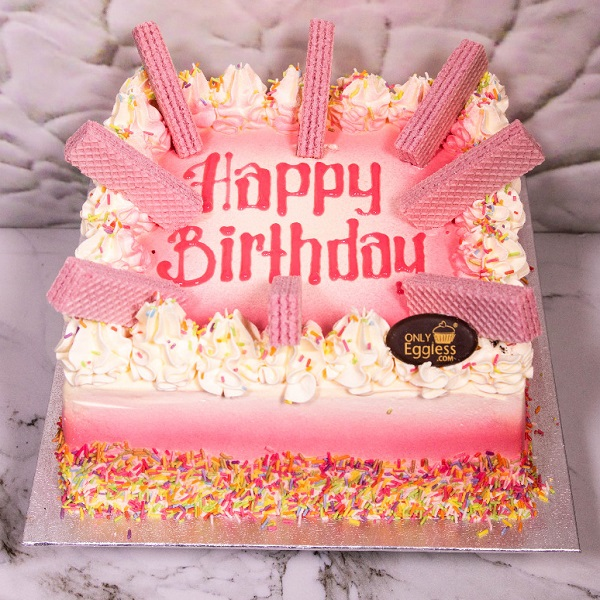 Pink Wafer Celebration Cake